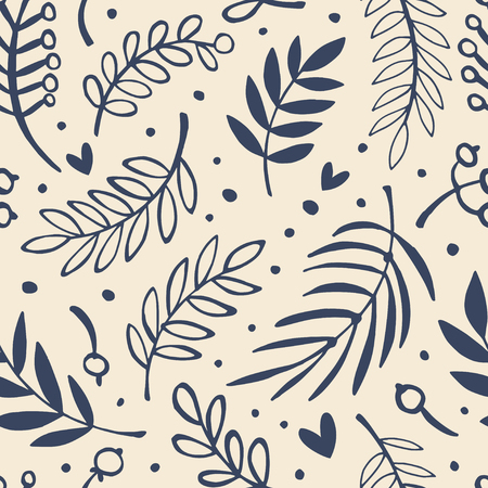 Hand drawn leaves seamless pattern. Nature background. Monochrome.
