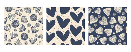 Set of seamless patterns with hearts. Monochrome.