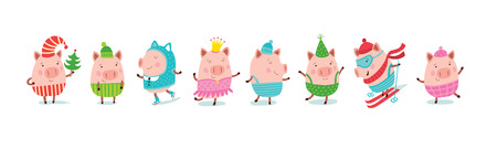 Set of holiday prints. Christmas pigs. Çizim