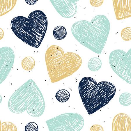 A simple pattern with hearts and gold tones.