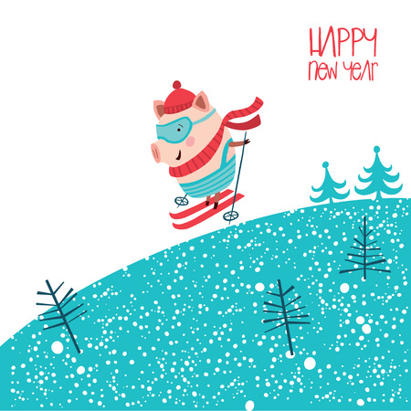 Christmas print with a piglet on skis. Excellent for postcard, poster, festive advertising and other. Çizim