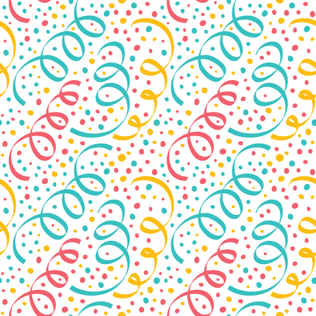 Seamless Christmas pattern with serpentine and confetti.