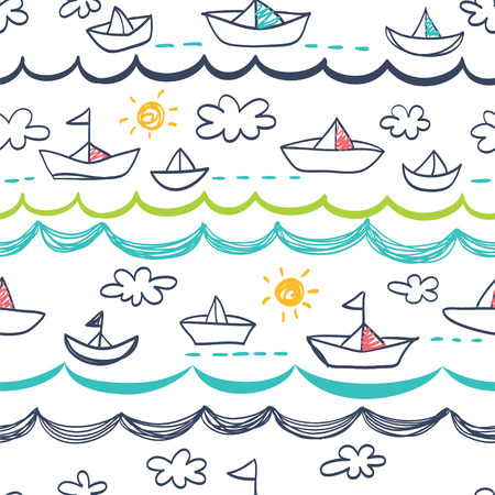 Seamless pattern in the concept of childrens drawings. Seamless pattern with ships, sun, clouds, sea and waves.