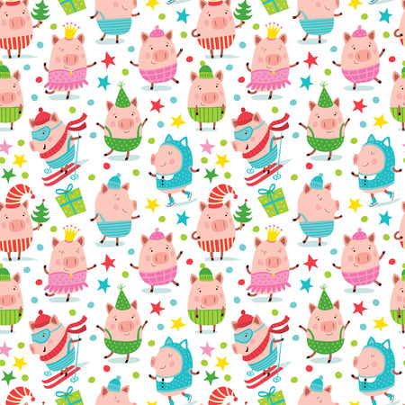 Christmas pattern with cute pigs. Çizim