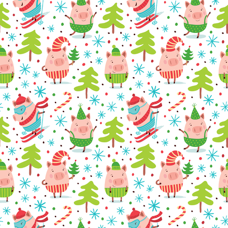 Seamless Christmas pattern with cute pigs.