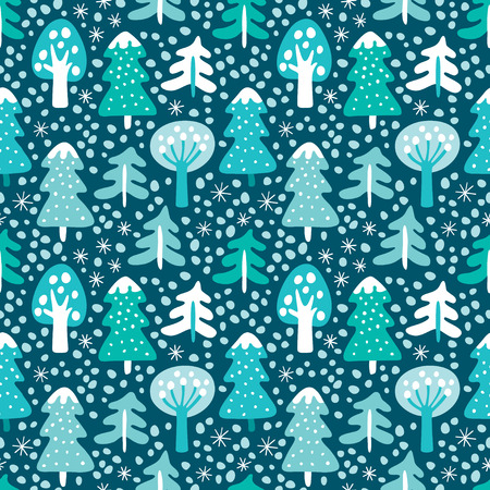 Seamless background with winter forest. Çizim