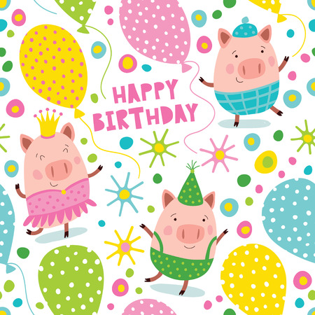 Happy Birthday with cute and funny pigs. Seamless vector background.