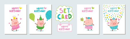 Birthday postcards with pigs. Vector illustration.