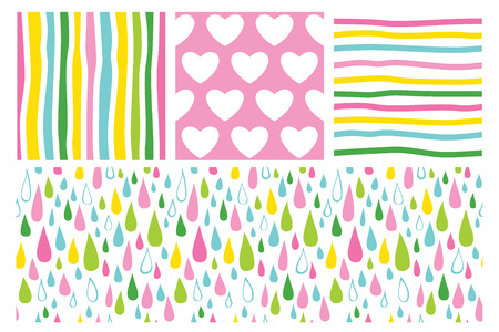 Simple pattern with hearts, stripes and rain drops. Set of vector backgrounds.