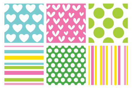Simple pattern with hearts, stripes and polka dots. Set of vector backgrounds.