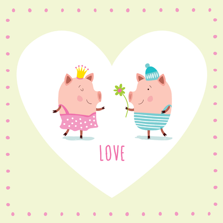Childish vector card. Romantic Valentines day background in pastel colors. Stylish holiday card.