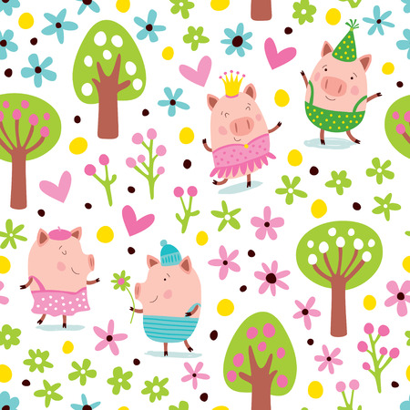 Seamless pattern with pink pigs in the forest and flowers.