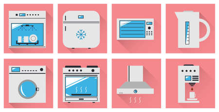 Vector icons kitchen appliances. Minimal style. Vector