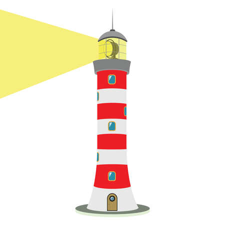 lighthouse beam: Vector illustration isolated on white background. Striped red-white lighthouse. Traced small details. Easily editable.