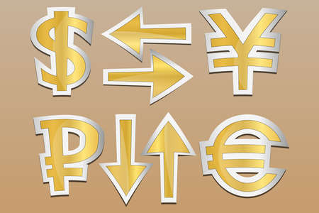 Vector icons. Currency exchange signs . Set gold style sticker on brown background. Arrows can show fluctuations.