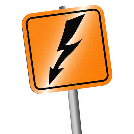 rickety: Vector illustration. Rickety post wish sign caution blackboard danger high voltage or danger lightning strike. Isolated on white background.