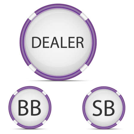 hold'em: Vector icon - dealer button, small blind and big blind for playing poker, isolated on white background