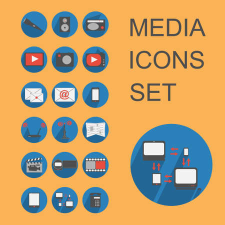 set vector media icons in flat design Vector