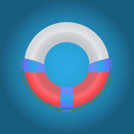 lifebuoy: tricolor lifebuoy on a blue background Illustration