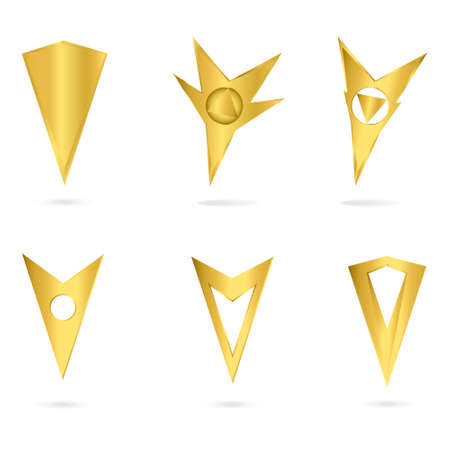 Vector icons.  Set gold markers tags to map isolated on white background. Vector
