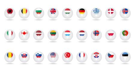 verdrag: Vector creatieve ballen. Set vlaggen leden Noord-Atlantische Verdragsorganisatie