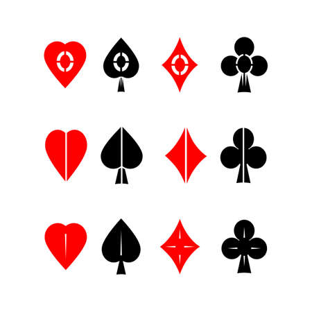 bluff: Vector icon set. Cards suits symbols on isolated white background.