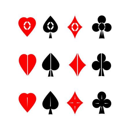 bluff: Vector icon set. Carte adatta simboli su sfondo bianco isolato. Vettoriali