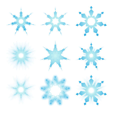 Vector icons. Set snowflakes - blank for decorating anything. Illustration on white background. Vector