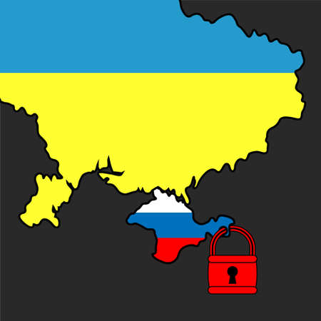 sanction: Vector illustration. Silhouette map of the Ukraine and Crimea area under padlock.