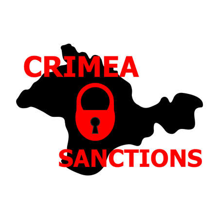 sanction: Vector illustration. Dark silhouette map of the Crimea region under padlock with the red word sanctions. Isolated on white background.