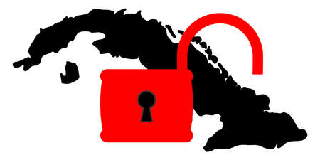 Vector illustration. Dark silhouette in Cuba territory under open red padlock. The weakening of the US sanctions against Cuba. Isolated on white background.