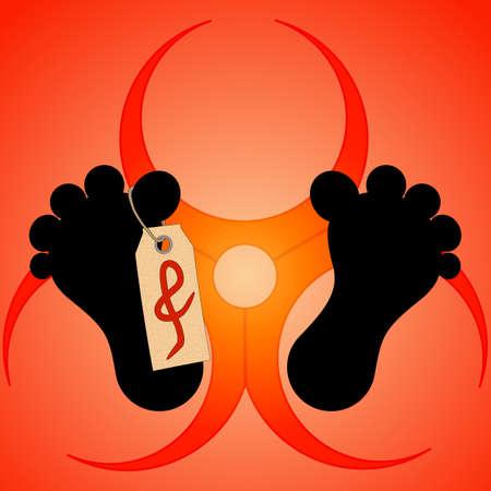 deadly danger sign: Vector illustration. Silhouette fieet dead man