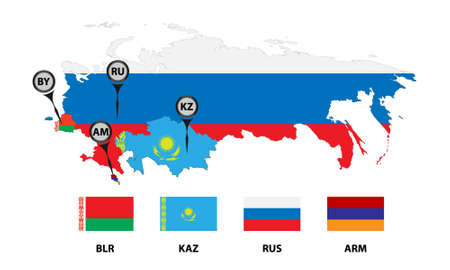 eau: Vector illustration. Template for infographics. Schematic map of the member states of the Eurasian Economic Union (EAU). Flags and abbreviations Russia, Belarus, Kazakhstan and Armenia.