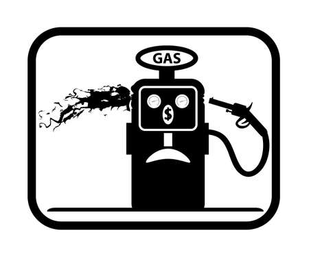 gas gauge: Vector icon. Black white Caricature. Gasoline pump commits suicide. The price of oil. Icon on white background.