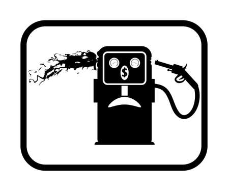 commits: Vector illustration caricature. Gas station icon. Gasoline pump commits suicide.