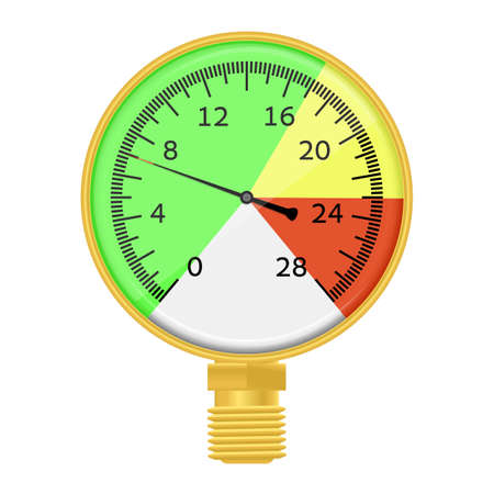 Vector illustration. Industrial barometer high pressure wish three color zone. Isolated on white background. EPS 10. Vector