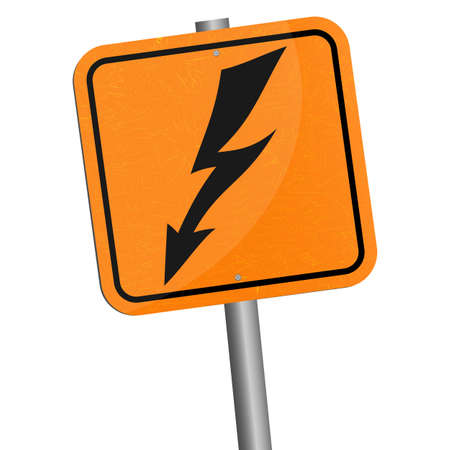 high voltage symbol: Vector illustration. Rickety metallic pole wish sign of danger. High voltage symbol isolated on white background.