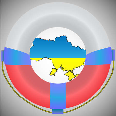 Vector illustration. Map of Ukraine in lifebuoy. Help ukraine - stop the conflict save the world. Illustration