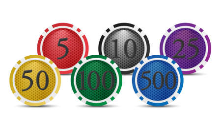 roulette online: Vector icons or background. Colorful poker chips with a nominal value of. Isolated on white background.