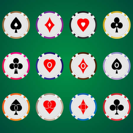 roulette online: Three vector set poker chips and cards suits on green background.