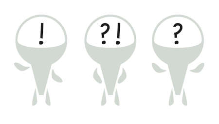 Vector icons. Creative male figures wish question and exclamation mark in head. Social icon design Illustration
