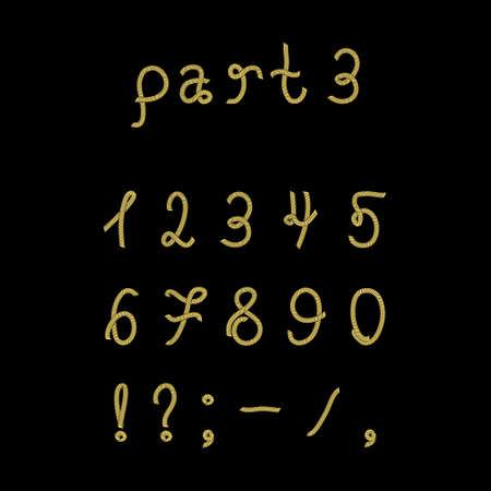 hyphen: Vector corda font, parte 3. numeri. Vector set numeri realizzati dalla corda marina. Isolato su sfondo nero.