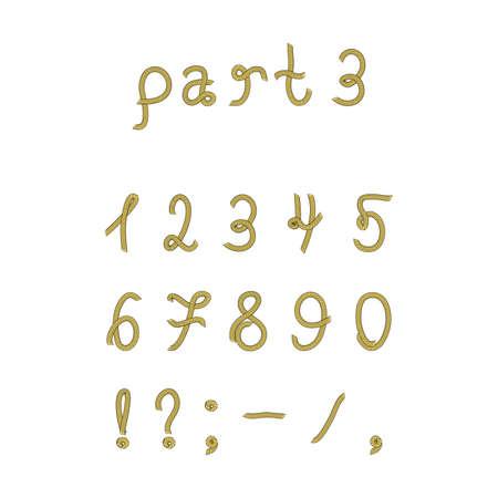 hyphen: Vector corda font, parte 3. Numeri. Vector set numeri realizzati dalla corda marina. Isolato su sfondo bianco. Vettoriali