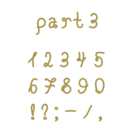six point: Vector rope font, part 3. Numerals. Vector set numerals made from marine rope. Isolated on white background.