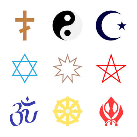 bahai: Vector icons. Character set popular religions of world in color.