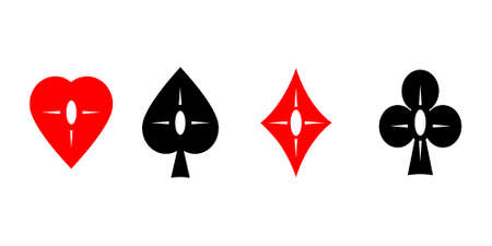 joker playing card: Vector. Set creative playing cards suits symbols isolated on white background.