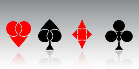 Vector. Set creative playing cards suits symbols on gray background with reflection. Vector