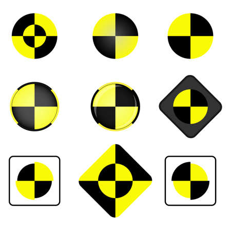 test equipment: Crash test vector icon set. Crash test symbol. Illustration