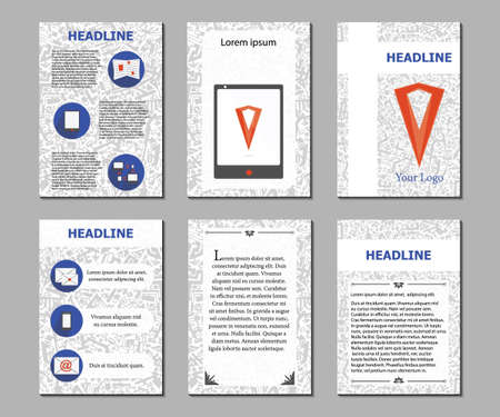 leaflets: Vector. Set flyers. Design template brochures. Preparation for the magazine, documents, leaflets, posters. Hand-painted geometric background pages. There are icons of contacts. Illustration