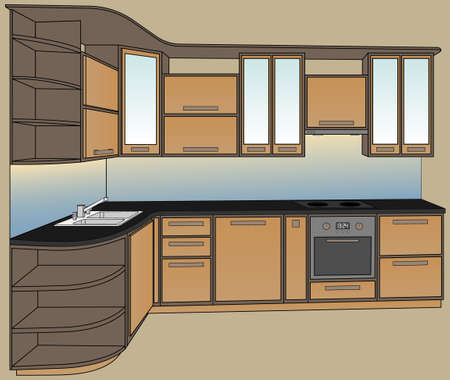 double oven: Vector illustration. Isometric view kitchen furniture. Extractor hood, cooking stove, oven, double sink and faucet.